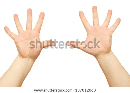 man hands isolated on white
