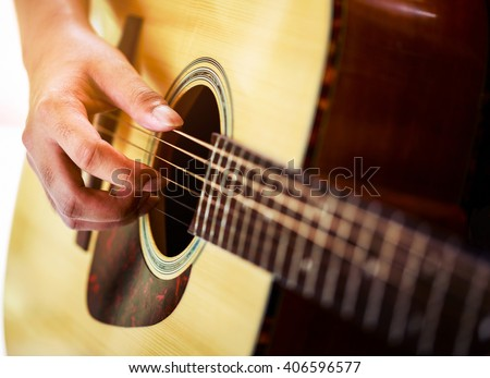 Womans Hands Playing Acoustic Guitar Close Stock Photo ...