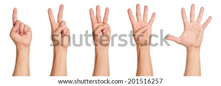 Man hands sign isolated on white background
