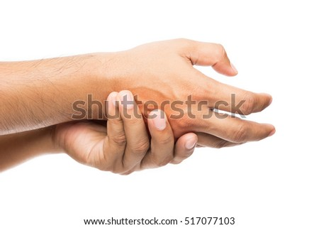 Man has pain in hand, isolate on white background