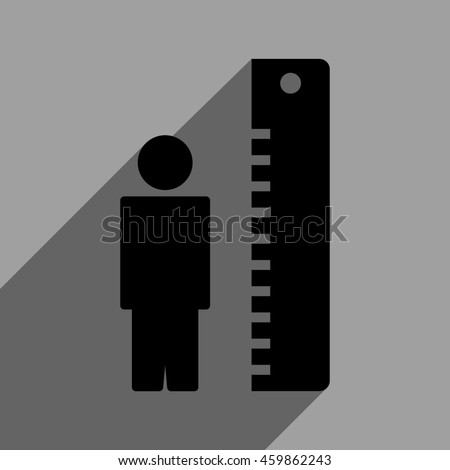 Man Height Meter long shadow glyph icon. Style is a flat man height meter black iconic symbol on a gray square background with longshadow.