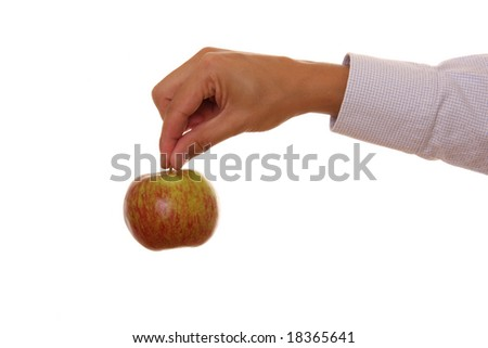 Man holding a juicy apple isolated on white background