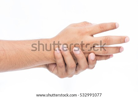 Man holding her hand, pain concept, isolate on white background