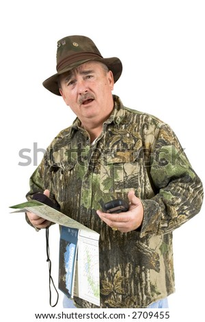 Man in Camouflage clothing using national forest maps and two gps's and still lost on a white background