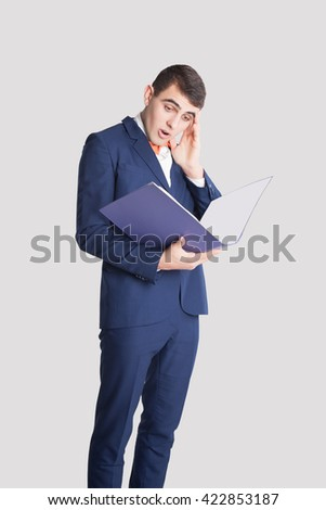 Man in Classic suit. Stressed Businessman