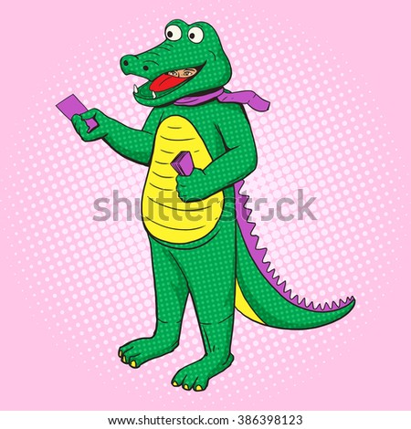 Man in crocodile costume distribute pop art style raster. Human illustration. Comic book style imitation. Vintage retro style. Conceptual illustration