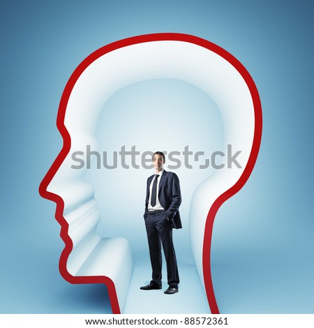 man in 3d empty head