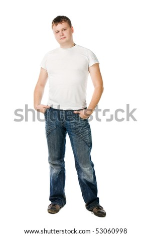 man in white t-shirt stand on white background
