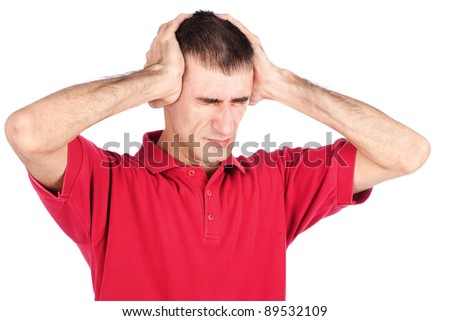 Man is hard pressing his head because of headache, isolated on white