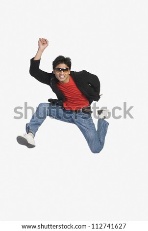 Man jumping in mid-air