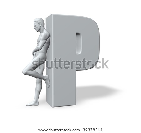 man leans on uppercase letter P - 3d illustration