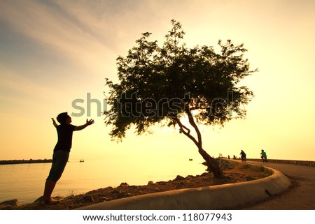 Man looking the  tree wonderful