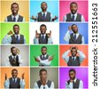 Man mood, behavior changes, swings. Collage young man expressing different emotions, showing facial expressions, feelings on colorful backgrounds. Human life perception, body language, gestures. - stock photo