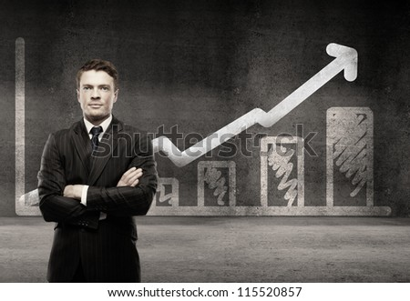 man on a background of growth chart