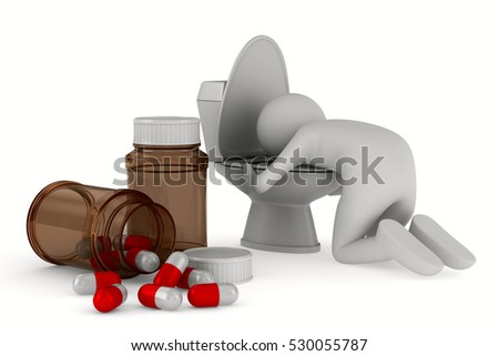 man over toilet bowl on white background. Isolated 3D image