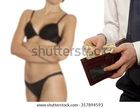 Man paying prostitute with banknotes from wallet (Dollar banknotes)