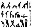 Man People Athletic Exercise Stretching Warm Up Sign Symbol Pictogram Icon - stock vector