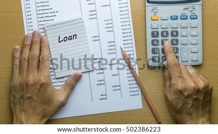 Man Planning monthly Loan payment, Finance concept
