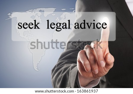 "man press the button with the message ""seek legal advice"" on it"