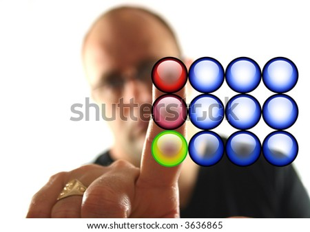 Man Pressing the Red Stop Button - No text on Buttons