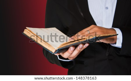 man reading a book isolated with path
