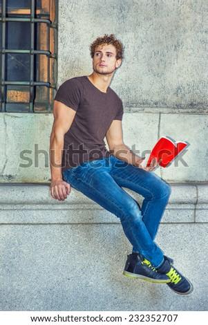 Wearing Dark Brown T Shirt Blue Stock Photo 231746617 - Shutterstock