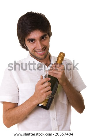 man ready to open a bottle of champagne in the new year eve  (selective focus)