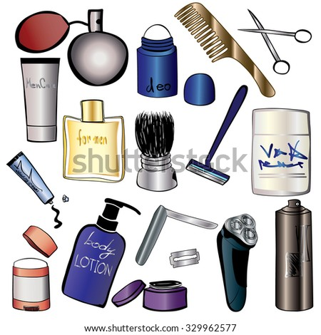 Mans Cosmetics And Beauty Products Icon Set Hand Drawn