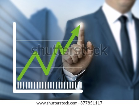 Man showing stock price touchscreen concept.