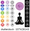Man silhouette in yoga position with the symbols of seven chakras - stock vector