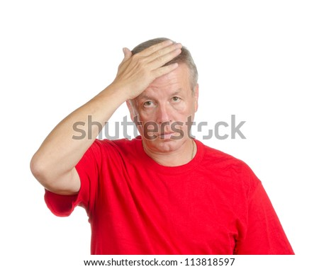 man smacking his forehead. Isolated on white. Body language. Disappointment. Self-accusation.