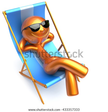 Cartoon character chilling beach deck chair stock for Chaise 3d dessin