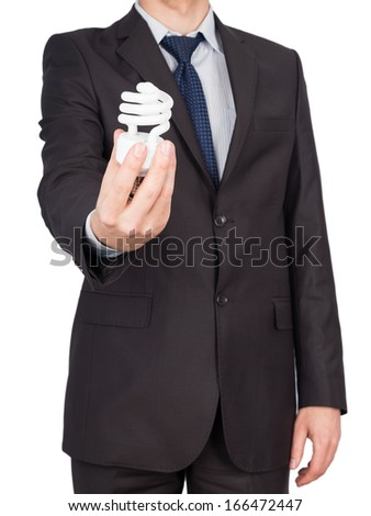 man suit bulb Isolated on white background