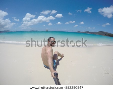 Man taking a selfie in Whitsundays, Queensland, Australia