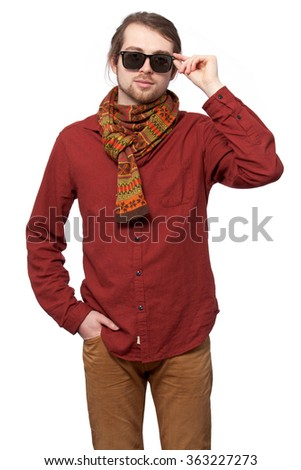 Man touching sunglasses by the hand, isolated on white background