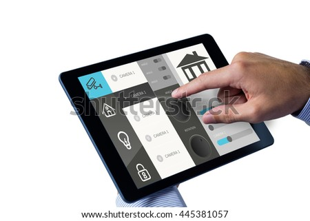 Man using tablet pc against screen with information about home