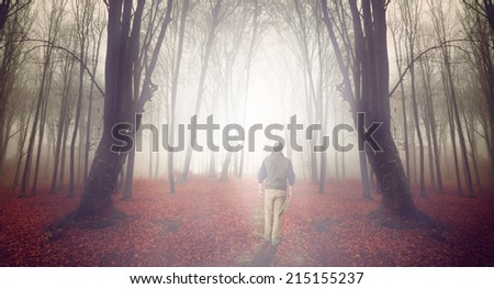 Man walking into a foggy forest during autumn