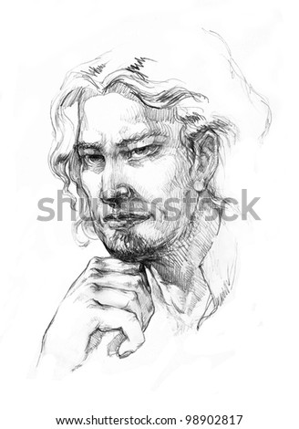 Man with a long hair drawing