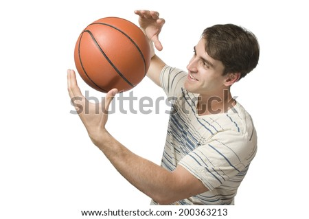 man with basket ball on with