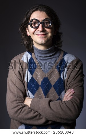 man with funny glasses, studio picture