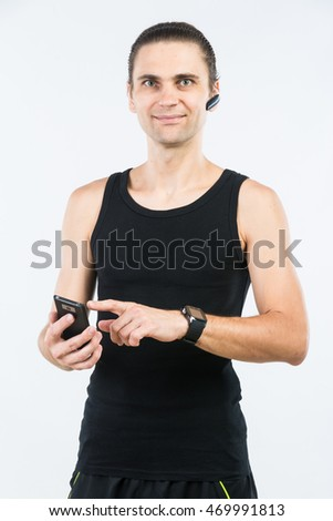 man with gadgets on white background