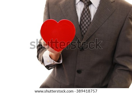Man with red heart