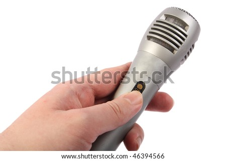 Man with the microphone on white background