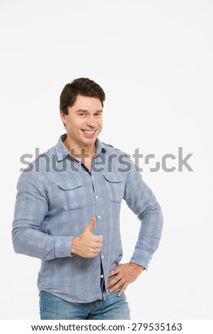 Man with thumb up  white background