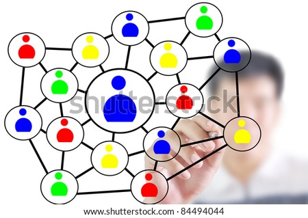 Man write social network diagram or chart