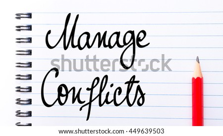 Manage Conflicts written on notebook page with red pencil on the right