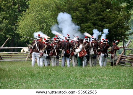 MANALAPAN, NJ - JUNE 19: American Light Dragoons fire on a British position on the battlefield at the 2010 re-enactment of the Battle of Monmouth on June 19, 2010 in Manalapan, NJ.