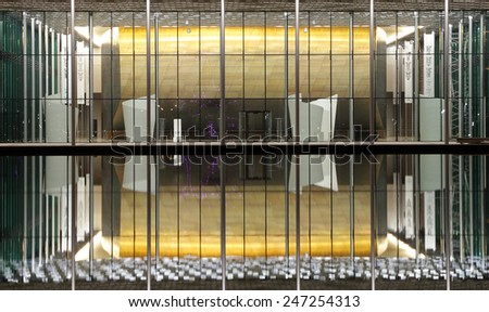 MANAMA, BAHRAIN-JANUARY 22: The beautiful illuminated lounge of Bahrain National Theatre on January 22, 2015, Manama, Bahrain. This is one of largest theatre in the Arab world with 1001 seats