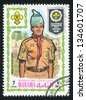 MANAMA - CIRCA 1971: stamp printed by Manama, shows a Scout, circa 1971 - stock photo