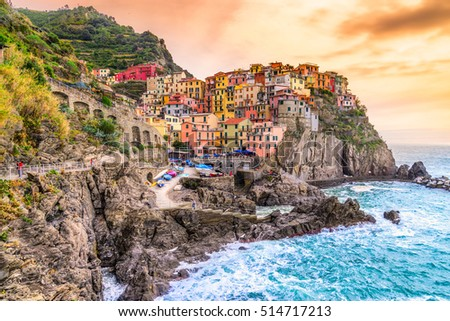 Manarola fishing village, seascape in Five lands, Cinque Terre National Park, Liguria, Italy.